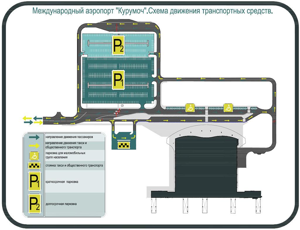 Схема расположения парковок в аэропорту Курумоч (нажмите для увеличения)
